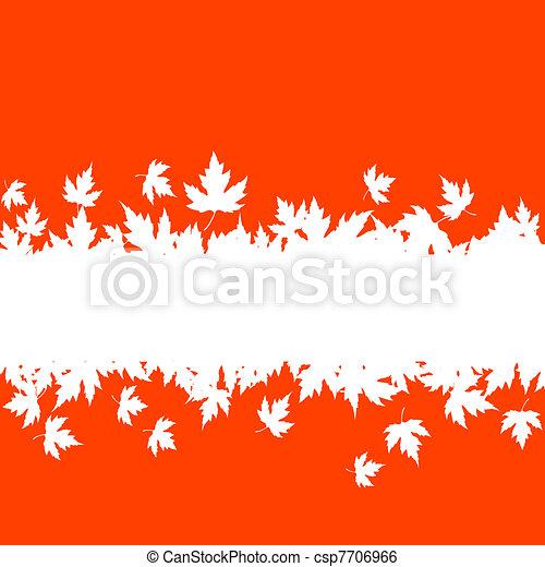 feuilles automne, frontière, planche, fond - csp7706966