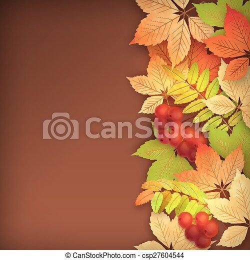 feuilles automne, vecteur, automne - csp27604544