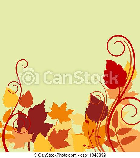 feuilles, fond, automnal, coloré - csp11046339