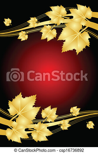 feuilles, fond, or, rouges - csp16736892