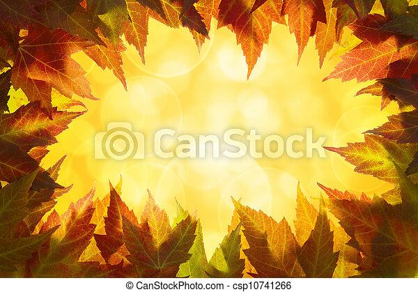 feuilles, frontière, érable, automne - csp10741266