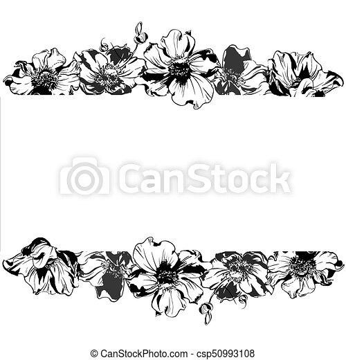 Feuilles Ornement Anémone Main Aquarelle Noir Dessin Fleurs Cadre