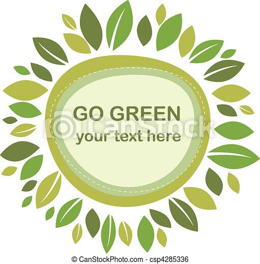 feuilles, vert, cadre - csp4285336