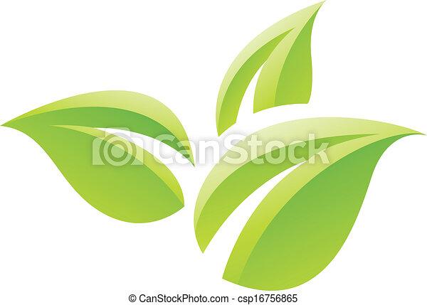 feuilles, vert, lustré, icône - csp16756865
