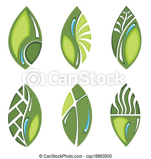 feuilles, vert - csp18863930