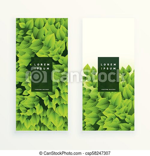 feuilles vertes, ensemble, bannière - csp58247307