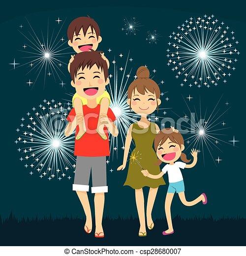 feux artifice, famille, heureux - csp28680007