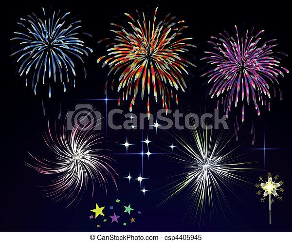 feux artifice, sky., vecteur, nuit, vacances, salut - csp4405945