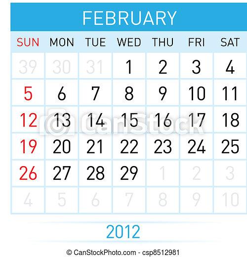 fevereiro, calendário - csp8512981