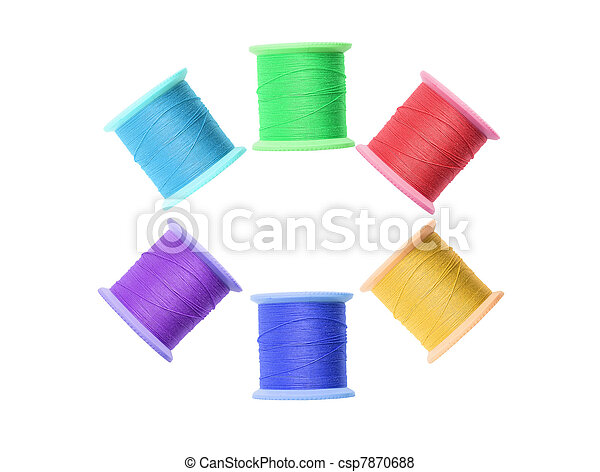 Few colorful thread bobbins isolated on white - csp7870688
