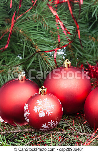 Few Red Christmas Balls And Xmas Tree Background