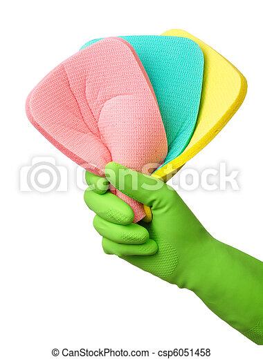 Few washing sponges in hand - csp6051458