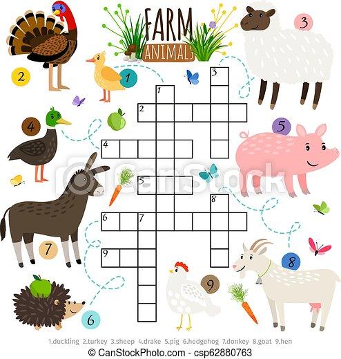 Ffarm animals crossword for kids