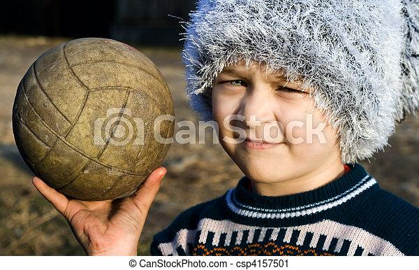 fiú, övé, szegény, kéz, felszólít, labda - csp4157501