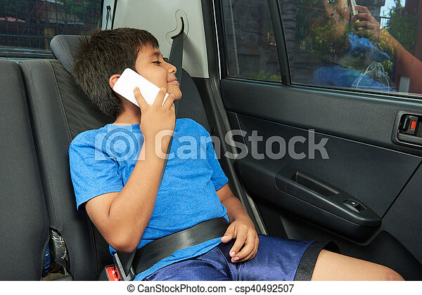 fiú, beszél, telefon, autó - csp40492507