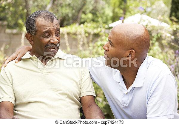 fiú, beszélgetés, felnőtt, súlyos, idősebb ember, birtoklás, ember - csp7424173