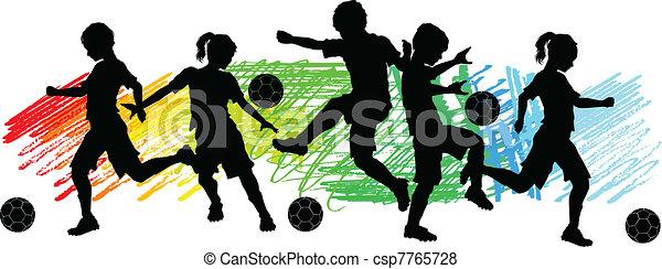 fiú, futball, gyerekek, lány, silhouet - csp7765728