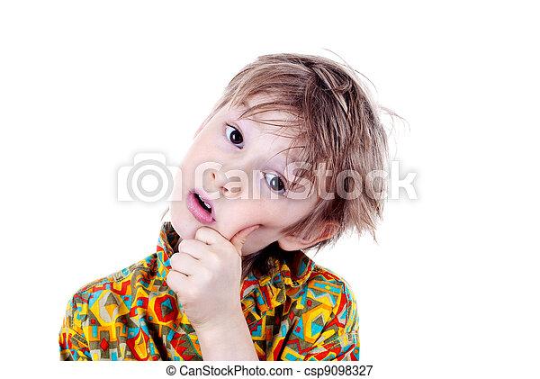 fiú, imádnivaló, fiatal, preschool, portré - csp9098327