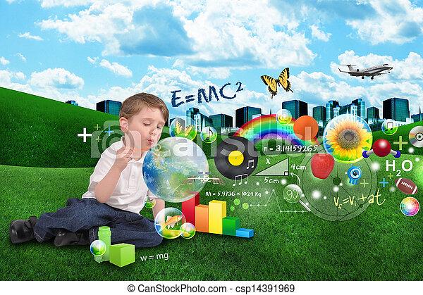 fiú, művészet, matek, tudomány, zene, buborék - csp14391969