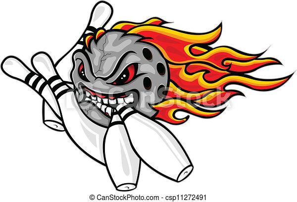 fiammeggiante, palla, bowling - csp11272491