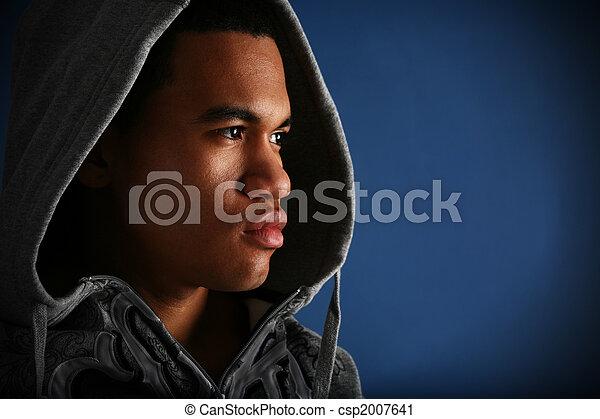fiatal, amerikai, alacsonyabb kulcs, afrikai, portré, hím - csp2007641