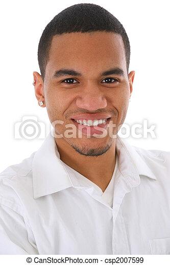 fiatal, amerikai, headshot, afrikai, mosolygós, hím - csp2007599
