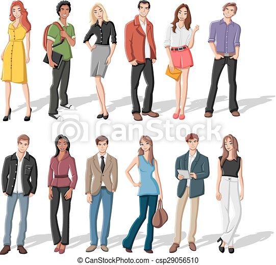 fiatal, karikatúra, emberek - csp29056510