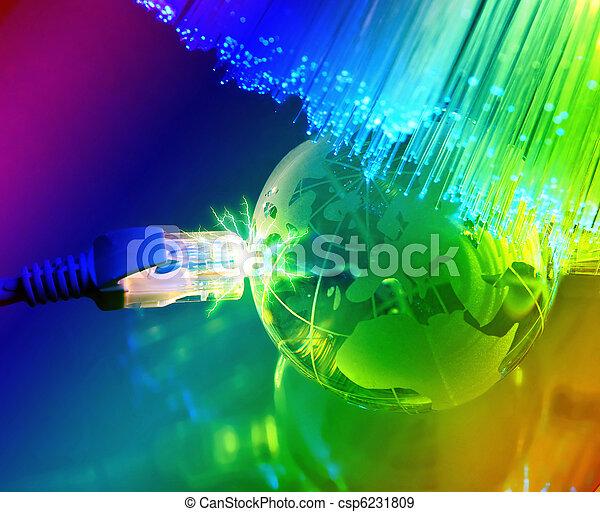fibra ottica, globo, contro, fondo, terra, tecnologia - csp6231809