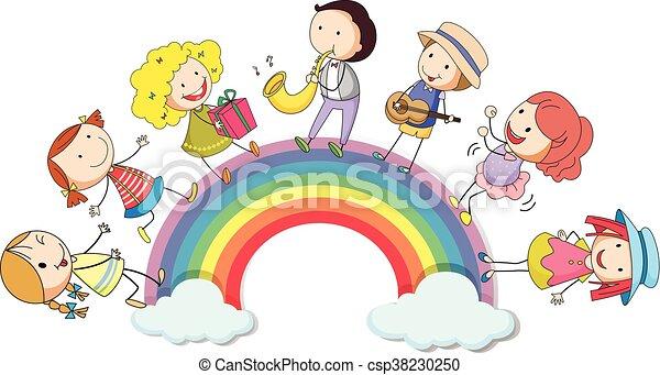 ficar, arco íris, sobre, pessoas - csp38230250