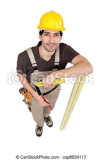 ficar, branca, carpinteiro, fundo, isolado - csp8834117