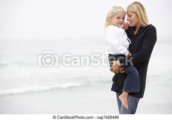 ficar, filha, inverno, mãe, feriado, praia - csp7428499