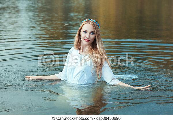 ficar, lake., mulher, água - csp38458696