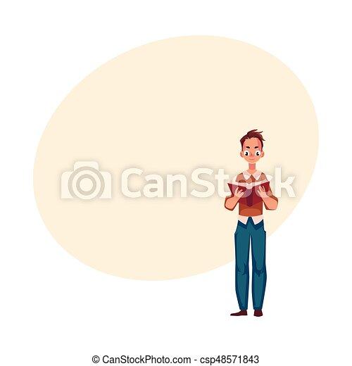 ficar, menino, interessante, jovem, livro, posição, leitura, homem - csp48571843