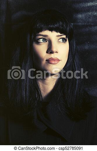 ficar, mulher, grunge, parede, agasalho, jovem, contra, moda, pretas - csp52785091