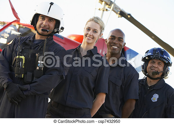 ficar, paramédico, medevac, retrato, frente - csp7432950