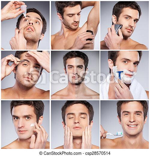 ficar, pessoal, imagem, jovem, contra, cinzento, composto, enquanto, fundo, hygiene., aparência, bonito, homem - csp28570514