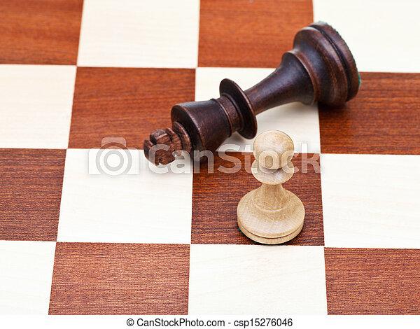 ficar, rei, caído, xadrez, penhor - csp15276046