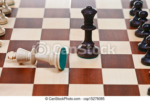ficar, rei, rainha, pretas, branca, caído - csp15276085