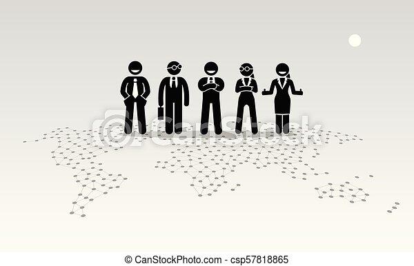 ficar, topo, map., homens negócios, mundo, mulheres negócios - csp57818865