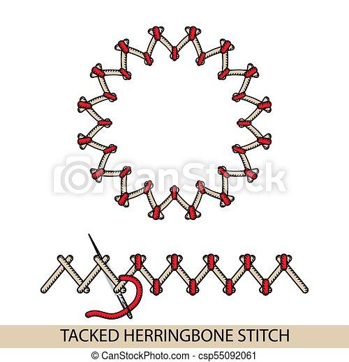 Los puntos apuntaban al vector del tipo de la médula espinal. Colección de bordado de mano de hilo y puntos de costura. El vector ilustra los ejemplos de sutura. - csp55092061