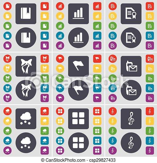fichier, diagramme, ensemble, coloré, plat, texte, drapeau, sms, symbole., vecteur, boutons, apps, grand, dictionnaire, arc, cle, icône, nuage, ton, design. - csp29827433