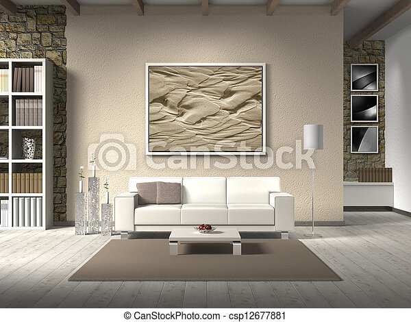 FICTITIOUS country style living room with white sofa; the photo behind the settee can easily be exchanged; the photos in the background are taken by me - no rights are infringed - csp12677881
