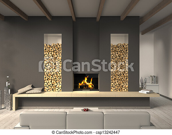 FICTITIOUS country style living room with fireplace - csp13242447