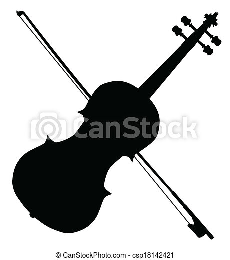 fiddle silhouette. a typical violin and bow silhpuette vector