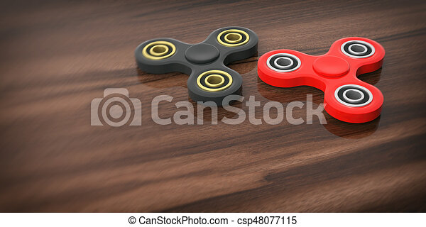 Fidget spinners on wooden background. 3d illustration - csp48077115