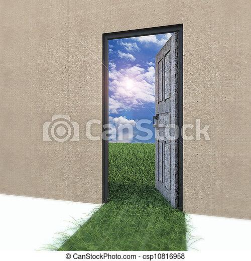 field., życie, drzwiowe odemknięcie, nowy - csp10816958