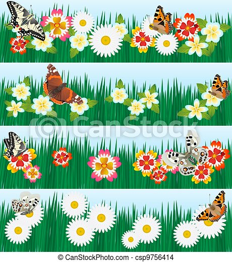 Field And Meadow Flowers A Set Of Butterflies And Wildflowers The