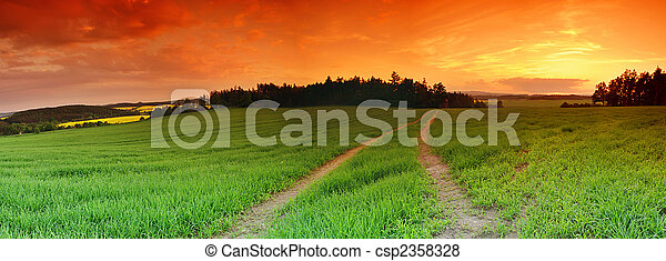 Field and sunset - csp2358328