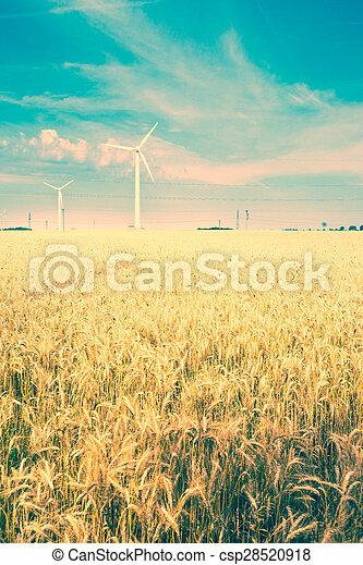 field and wind turbine - csp28520918