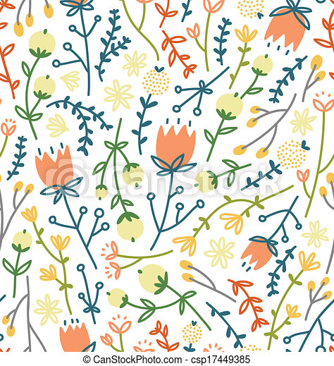 Field flowers seamless pattern - csp17449385